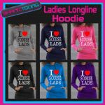 I LOVE HEART SCOUSE LADS SCOUSER LIVERPOOL LADIES TEENAGERS LONG LINE HOODIE